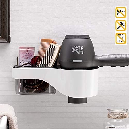 BATFE Supporto per asciugacapelli, Porta Asciugacapelli a Muro, Organizer da Bagno Rimovibile e Lavabile Multifunzione da Fissare Senza Trapano