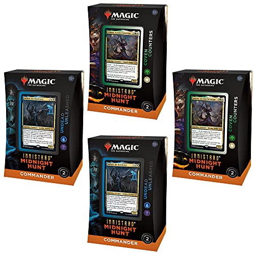 Bundle of 4 Magic: The Gathering Innistrad: Midnight Hunt Commander Decks | 2 Coven Counters + 2 Undead Unleashed