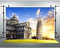 新しいJSCTWCL10x7ft写真の背景ピサの斜塔写真ブースの背景教会スタジオの小道具369