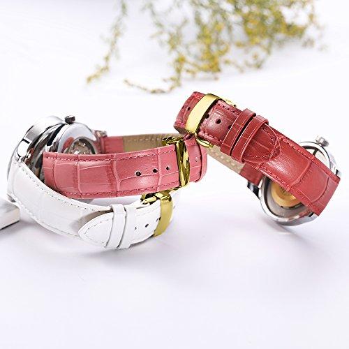 『iStrap 時計ベルト 17mm 18mm 19mm 20mm 21mm 22mm 24mm6色 カーフレザー腕時計バンド 革ベルト ゴールデンDバックル尾錠付き』の4枚目の画像