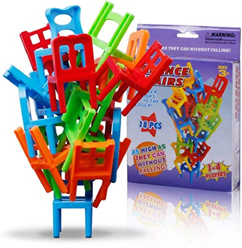 Chairs stacking tower balancing game,balancing toys plastic chairs,Children Balance Stacking Chairs Toy Party Favor Stacking Toys Family Puzzle Board Games (18(PCS))