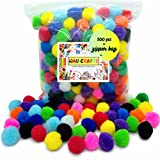 WAU Craft Pom Poms Balls - 300 pcs 1 inch in Reusable Zipper Bag Multicolored Pompoms for Arts and DIY Projects