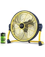 Geek Aire Fan, Battery Operated Floor Fan, Rechargeable Powered High Velocity Portable Fan with Metal Blade, Built-in Durable Battery Run for Whole Day Time, for Camping Travel Hurricane, 12 Inch