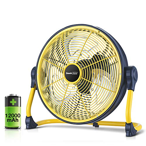 Geek Aire Fan, Battery Operated Floor Fan, Rechargeable Powered High Velocity Portable Fan with Metal Blade, Built-in Durable Battery Run for Whole...
