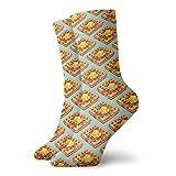 Calcetines de patrón de gofre clásico ocio deporte calcetines cortos 30 cm/11.8 pulgadas adecuados para hombres mujeres