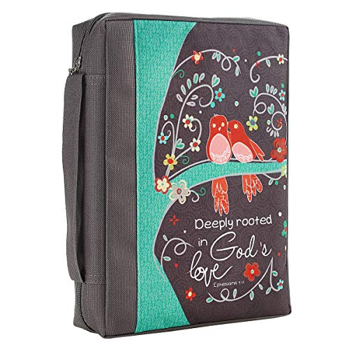 Deeply Rooted In Gods Love Ephesians 3:17 Floral Bird Gray Poly Canvas Bible Cover for Women Large Zippered Case for Bible or Book w/Handle