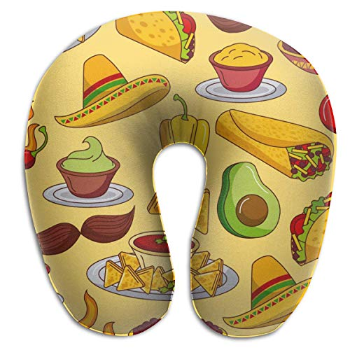 Sabalone Almohada para el Cuello Conjunto de Iconos de Comida Mexicana Ingredientes del menú Almohada de Viaje en Forma de U Picante Funda Lavable con diseño ergonómico Contorneado