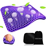 Purple Gel Seat Cushion, Double Purple Gel Seat Cushion with Non-Slip Cover for Long Sitting, Cold Gel Seat Cushion for Office Chair Car Wheelchair Accessories, Help with Sciatica & Relief Back Pain