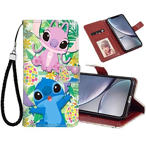 DISNEY COLLECTION Funda tipo cartera para iPhone Xr con diseño de puntadas para tarjetas de crédito, cierre magnético, función atril