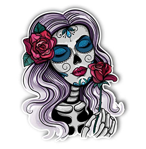 Magnet Sugar Skull Girl Day of The Dead Magnetic vinyl bumper sticker sticks to any metal fridge, car, signs 5'