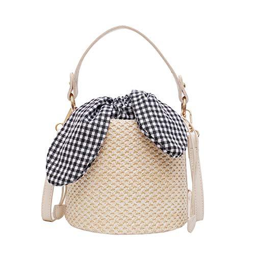 Bolso de paja tejido para mujer, bolsos cruzados para mujer, bolsos de playa con forma de cubo, bolsos de mano, bolso tejido de cuerda para mujer, bolso de verano-2