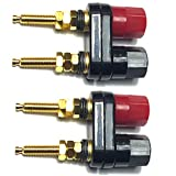 CESS Dual Binding Post Terminal - Amplifier/Speaker/Power Cable Connector - Banana Jack Socket - Length 2.3' (2 Pack)