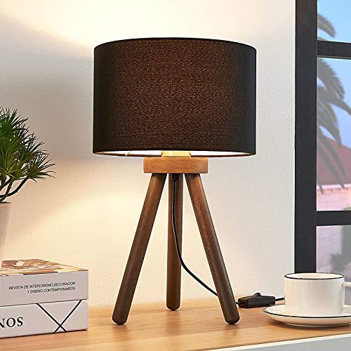 Lindby Dreibein Tischlampe 'Majken' (Skandinavisch) in Schwarz aus Holz u.a. für Wohnzimmer & Esszimmer (1 flammig, E27, A++) - Tischleuchte, Schreibtischlampe, Nachttischlampe, Tripod