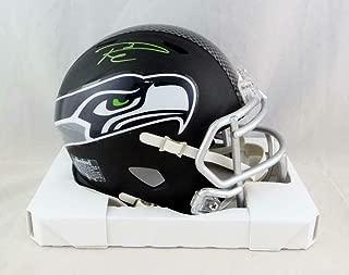 Signed Russell Wilson Mini Helmet - Flat Black Hologram - Autographed NFL Mini Helmets
