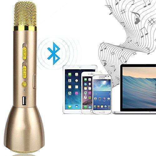 Draadloze Bluetooth microfoon ordini dynamics / karaoke speler microfoon condensator microfoon / studio Kit met modus microfoon voor afstandsbediening voor KTV leren, compatibel met Android-smartphones, Apple iPhone, PC laptop, tablet, Goud