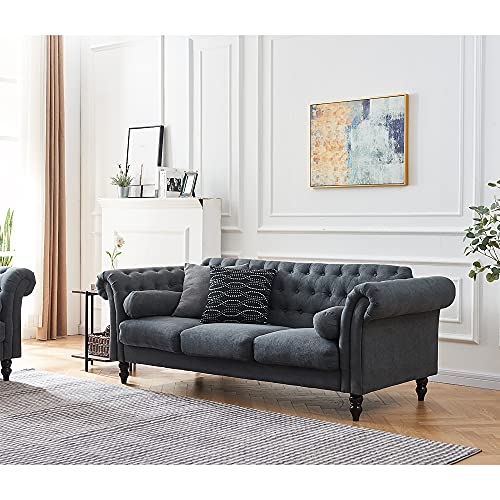 Chesterfield Style 3 Seater Sofa Velvet Fabric Sofa Settee Couch For Living Room with Solid Wooden Legs and Bolster Cushions (Charcoal grey, 3 Seater)