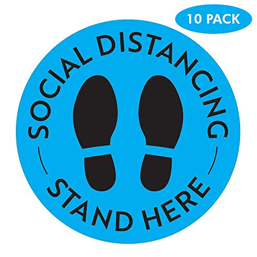 10 Pcs Social Distancing Floor Stickers Retail Store Circle Keep Social Distance Landscape Safety Sign Removable /& Waterproof Floor Decals for Supermarket Restaurant- 21cm*21cm