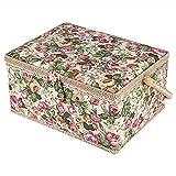 Bediffer Tela de tela de plástico de madera de estilo rural floral impreso cesta de costura cómoda mango manualidades para almacenar herramientas de costura pequeños artículos