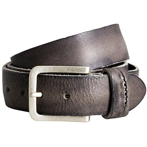 The Art of Belt by LINDENMANN Womens leather belt/Mens leather belt, premium full grain leather belt with ornament, Unisex, dark brown/grey, Größe/Siz