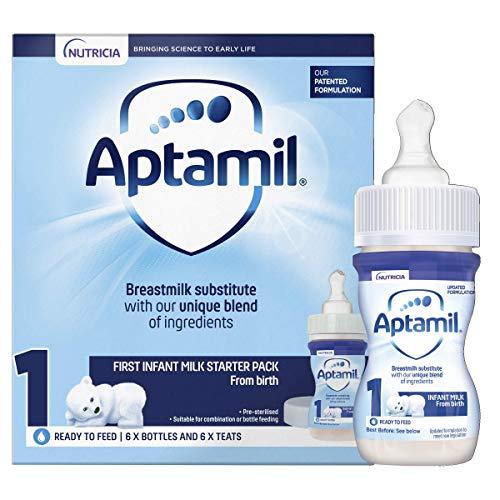 Aptamil 1 First Baby Milk Formula Starter Pack Ready to Use Liquid, from Birth, 6x70 ml