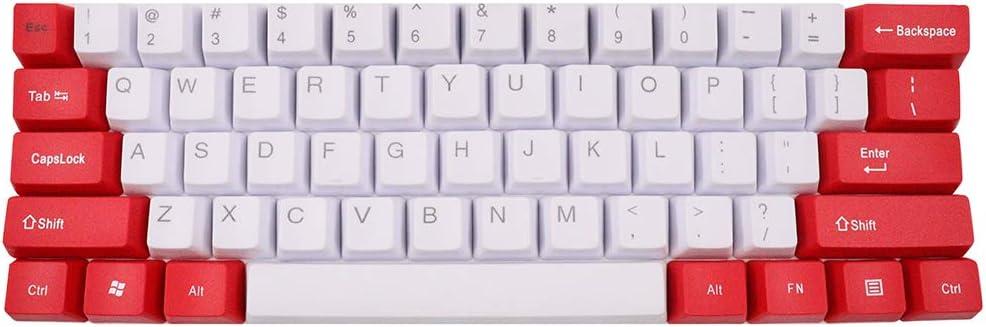 61keys ANSI disposición OEM perfil keycaps PBT clave tapa para MX interruptores Gaming teclado mecánico blanco+color rojo