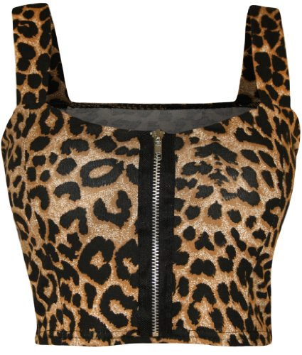 WearAll - Damen reißverschluss Bandeau Boobtube gepolsterte Trageriemen Crop Top Bralet - Leopard - 36-38