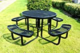 46' Expanded Metal Round Picnic Table, Black!