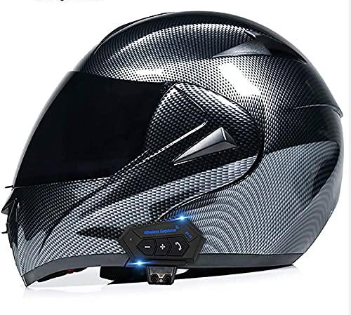ABDOMINAL WHEEL Casco De Motocicleta Modular Integrado Bluetooth Flip Up Motorbike Casco con Anti-Niebla Dual Visor Incorporado Dual Altavoz Micrófono Auriculares para Hombres Y Mujeres ECE Aprobado