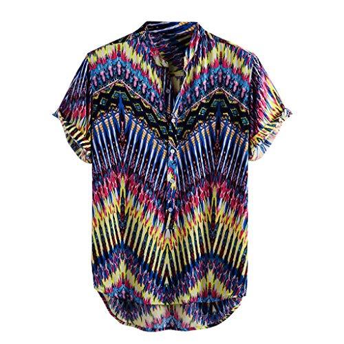 Xniral Herren Hawaii Hemd Blumen Beiläufig Aloha Freizeit Streifen Shirt Button Down Umlegekragen Graphic Shirt Sommer T-Shirt(f-Blau,M)