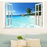 Skyllc Grand Plage mer 3D fenêtre Vue Paysage Autocollant, décalcomanies PVC Amovible décoration, Affiches Bricolage pour Salon, Chambre à Coucher, Salle à Manger