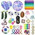 Fidget Toys Pack Barato, 33pc Juguetes Sensoriales Fidget,Set De Juguetes Sensoriales Fidget Baratos con Simple Dimple Pop Bubble Infinite Cube Stress Ball y Anti Stress Relief Toy Stress Ball de CaCaCook