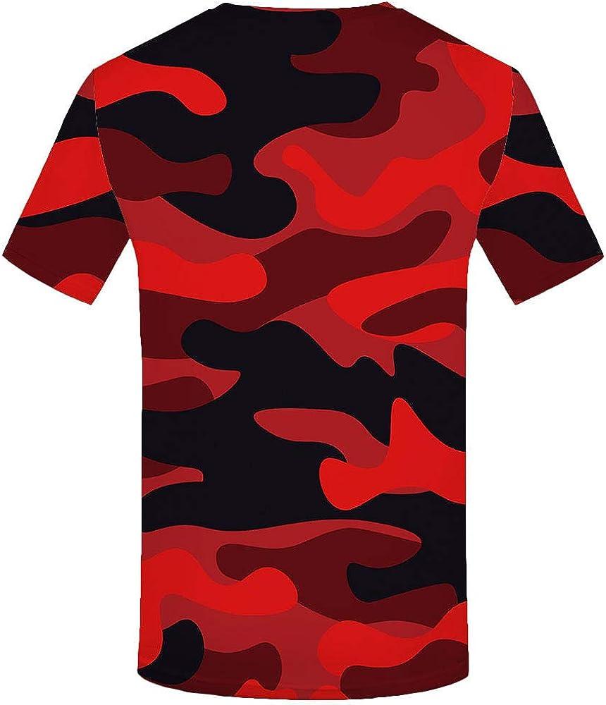 Luotears Camiseta 3D Camuflaje Camisa roja Hombres Ropa ...