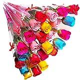 KaguraSuzu ソープフラワー バラ の 花束 プチギフト 粗品 お礼 お返し 石鹸 で出来た 薔薇 一輪 × 24本 と メッセージカード セット (ライトミックス)