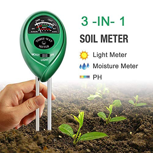 3 in 1 Soil Tester Kits Garden Plant Flower bodem hygrometer Water PH Tester Moisture Light Meter Testing Tools for Farm Lawn Indoor Outdoor, geen batterij nodig