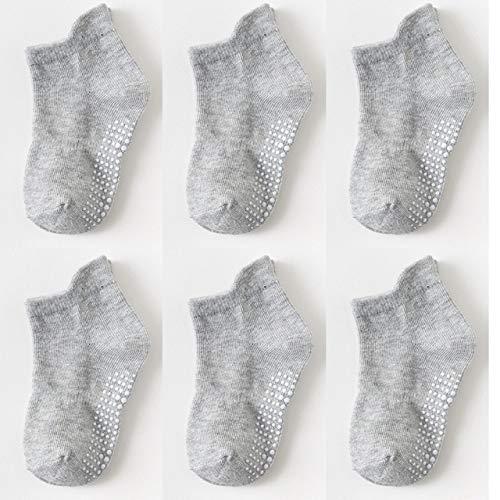 6 par/Lote 0 a 6 años Calcetines de Barco Antideslizantes de algodón para niños y niñas Calcetines de Chico de Piso de Corte bajo con empuñaduras de Goma Cuatro Estaciones-a81-4 to 5 Years
