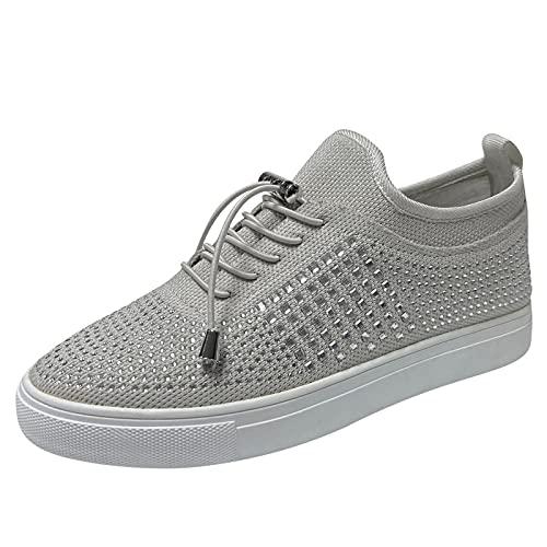 BIBOKAOKE Zapatillas de deporte para mujer, tallas grandes, brillantes, planas, informales, con cordones, transpirables, para el verano, bonitas zapatillas de tiempo libre.
