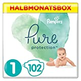 Pampers Pure Protection Windeln, Gr. 1, 2kg-5kg, Halbmonatsbox (1 x 102 Windeln)