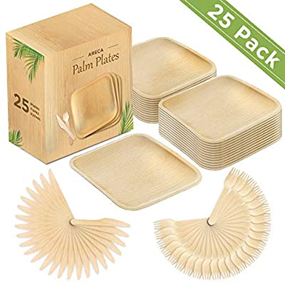 Palm Leaf Plates 10 Inch Pack of 25 Wooden Disposable Square Plates 25 Forks 25 Knives 100 % Biodegradable Compostable Thicker Deeper Eco Friendly Wood Plate for Wedding Birthday Dinner Party