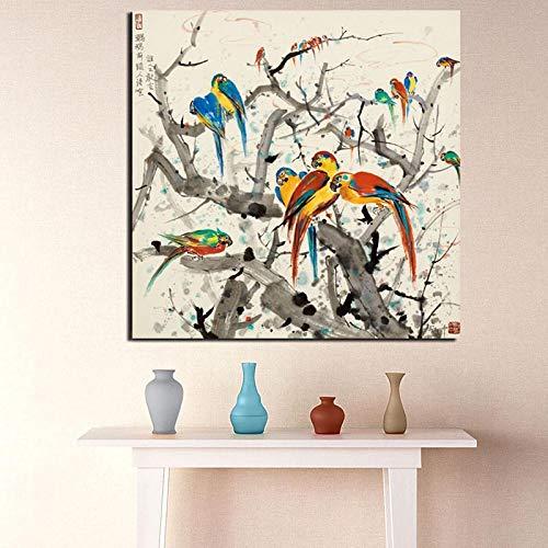 KWzEQ Berühmter Künstler Birdie auf dem Baum Leinwanddruck Wohnzimmer Hauptdekoration Moderne Wandkunst,Rahmenlose Malerei,50x50cm