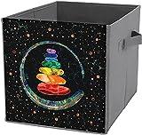Caja de almacenamiento plegable | Cubo de almacenamiento cuadrado plegable, cesta organizadora duradera, piedras chakras y círculo