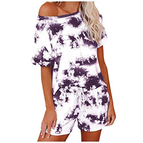 Xniral Damen Pyjama Schlafanzug Kurz Tie-Dye Bedruckte Nachtwäsche Nachthemd Hausanzug Set Kurzarm Rundhals-Ausschnitt für Sommer(h Lila,M)