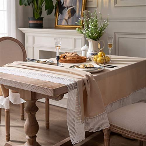 DJUX Algodón Puro sólidos Mantel Mesa de café tocador Cubierta casa Sala de Estar Estudio Comedor Mantel Mantel Mantel Tela 140x140cm