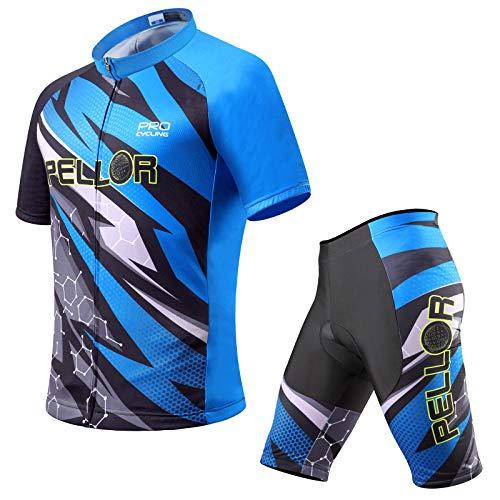 PELLOR Maillot de ciclismo para hombre, ropa de ciclismo de secado rápido, maillot de manga corta y pantalones cortos con acolchado 3D para el asiento azul XXL
