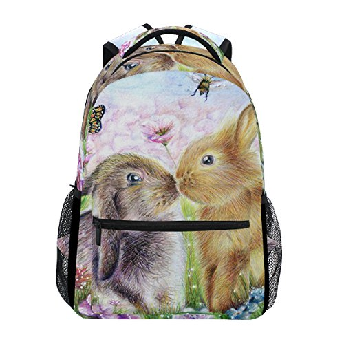 tizorax Kiss Hasen Kaninchen Bunny Schmetterling Gemälde Rucksack Schulranzen Segeltuch Wandern Reise Rucksack