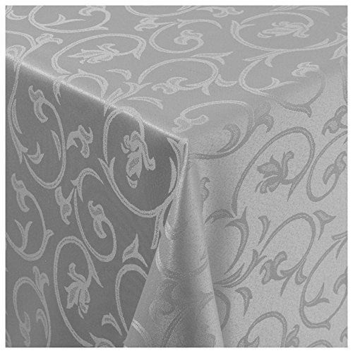 MODERNO Tischdecke Stoff Damast Barock Jacquard Ranken Design mit Saum eckig 130x220 cm Grau