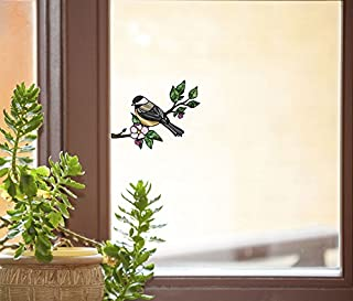 Bird - Chickadee with Apple Blossom - Stained Glass Style See-Through Vinyl Window Decal - Copyright 2015 Yadda-Yadda Design Co. (Size Choice) (SM 3