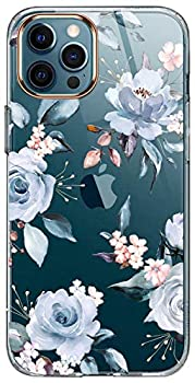 LUOLNH iPhone 12 Pro Max Case,with Flowers,for Girly Women,Shockproof Clear Floral Pattern Hard Back Cover for Phone 6.7 inch 2020 -Blue