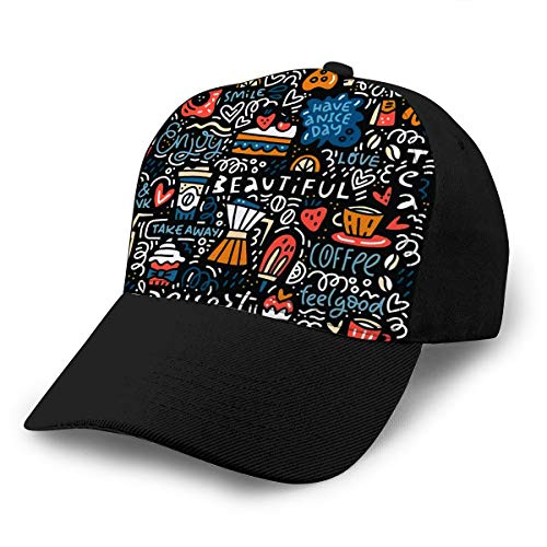Baseball Cap Hats Adjustable Doodle Style Concept with Different Desserts Coffee Combination of Lette