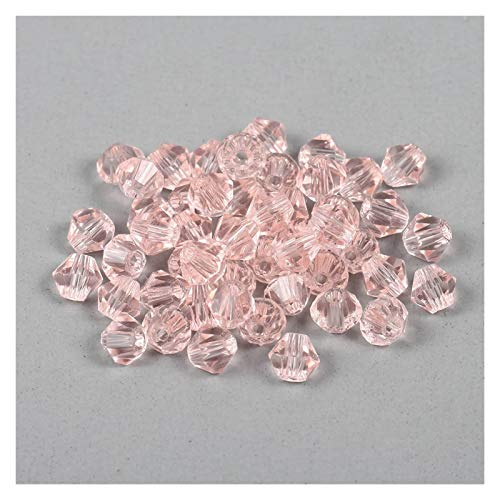 WEIYUE 200 cuentas de cristal de transparencia bicona, cuentas espaciadoras sueltas para pulseras, pendientes y bisutería, color rosa