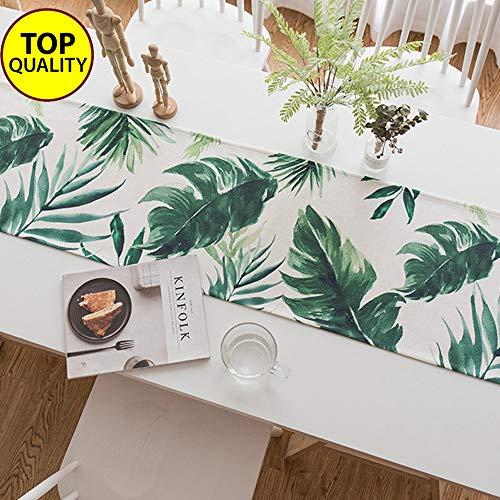 DÉCOCO Tischläufer Bananenblätter für Frühling Sommer Hochzeit Geburtstag Party Home Decor Palmen Tropical Coastal Decor Vintage hawaiianischen Stil Strand Haus Dekor 14 x 71 Zoll